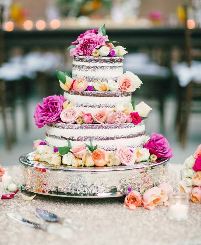 cream cake wedding in boho style with real flowers