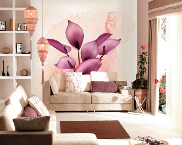 floral motifs wallpaper living room carpet