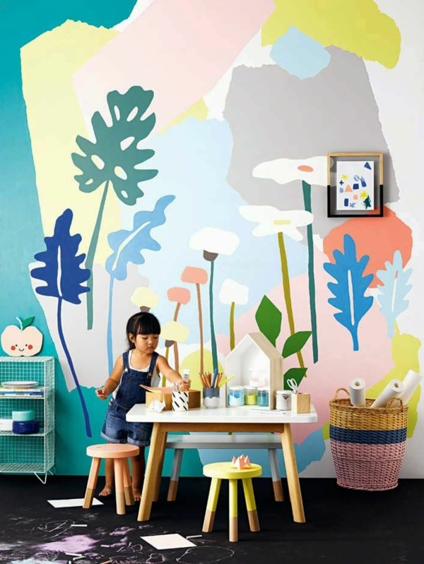 children's room decorate wall painting leaves