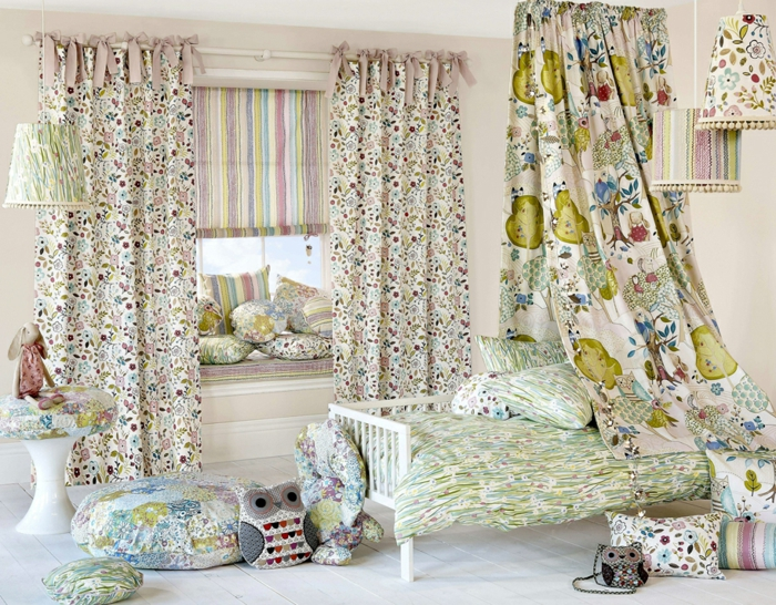 curtains curtains natural fiber cotton pattern colorful children's room