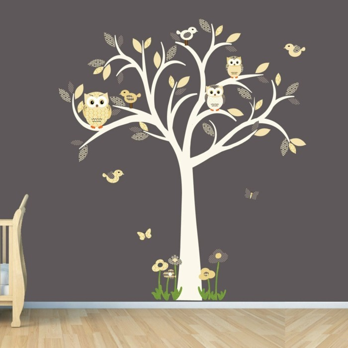 beautiful wall decals gray wall paint tree flowers