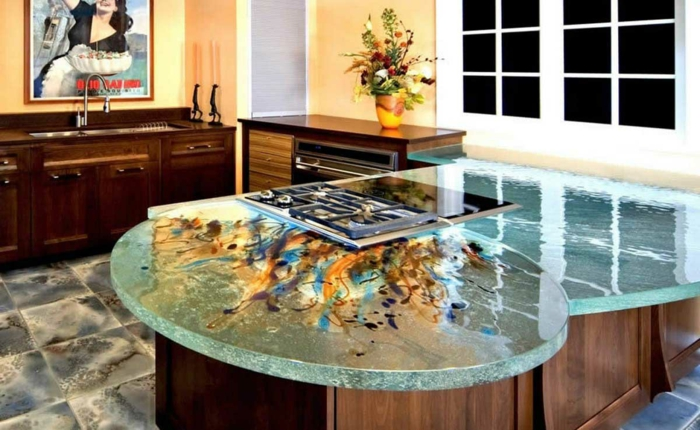 glass top countertop kitchen kitchen plate