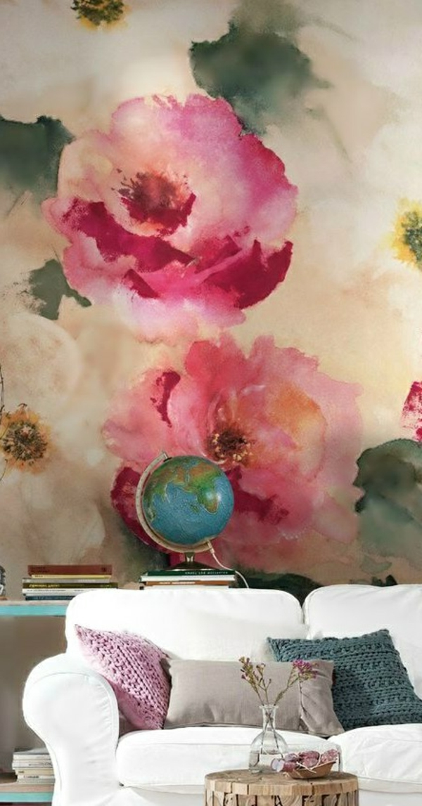 wallpaper pattern flowers fresh wall design