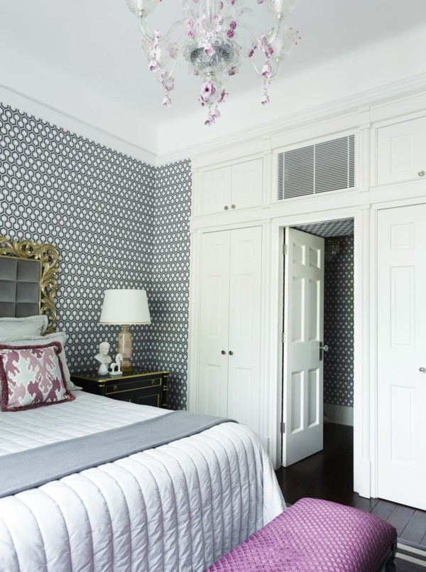 wallpaper pattern stylish wallpaper pattern in the bedroom and beautiful chandelier