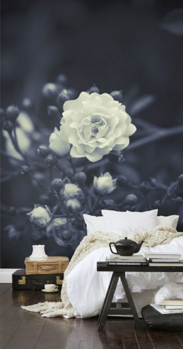 blue white splendor photo wallpaper bedroom