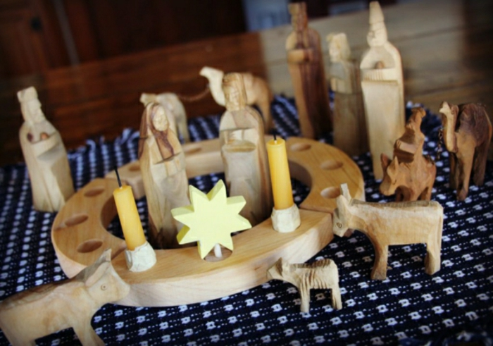 great wooden advent wreath with figures
