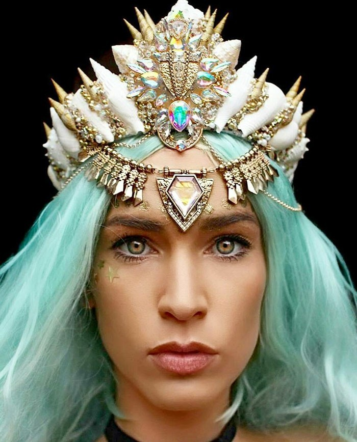 hair jewelry headdress wedding rhinestones blue hair mermaid