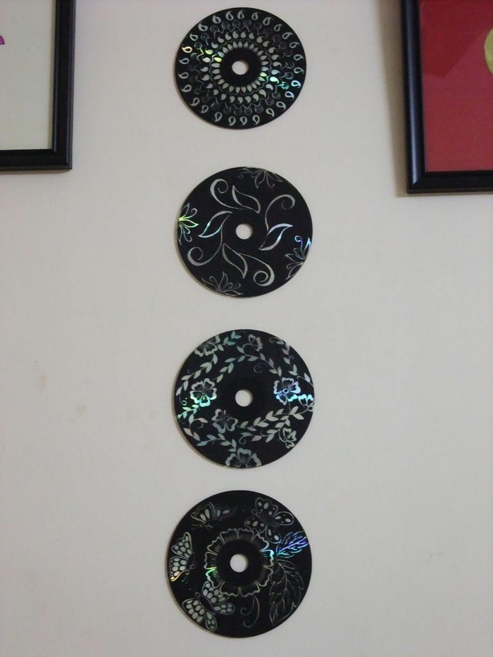 Recycling Bastel with CDs Upcycling Ideas Wall Decorating Ideas Make your own canvas