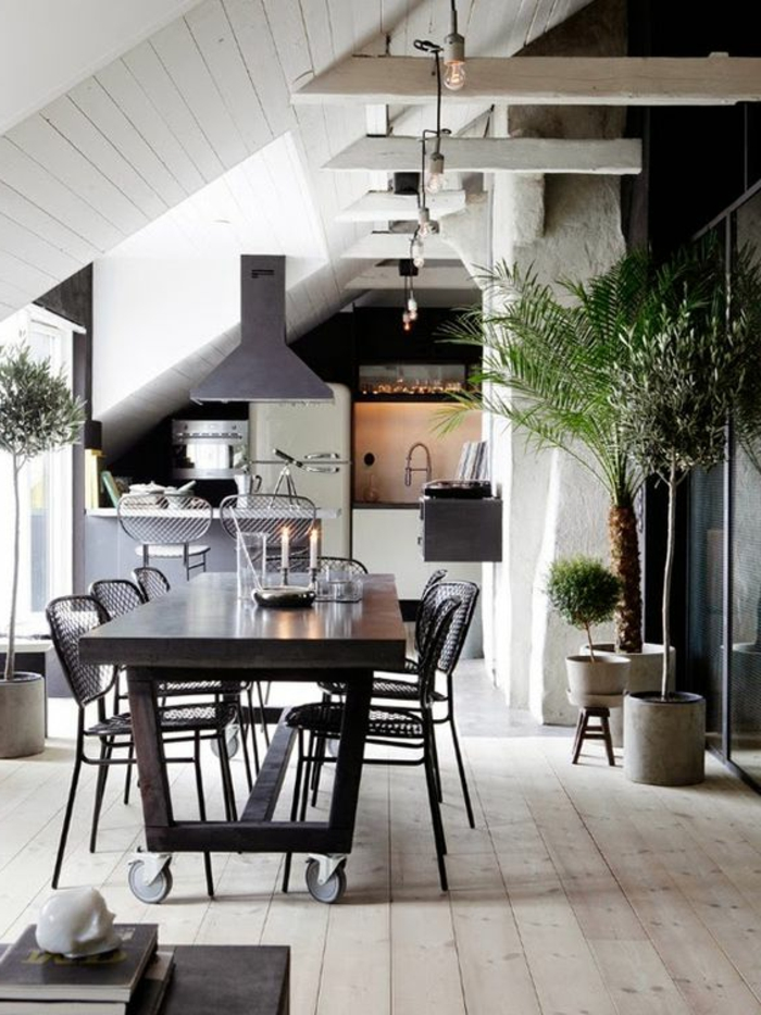 indoor plants decoration ideas dining area pendant lamps