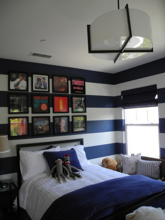youth room for boys design wall paint white blue stripes music posters