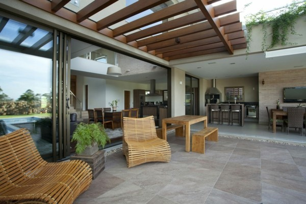 Terrace design with wood canopy