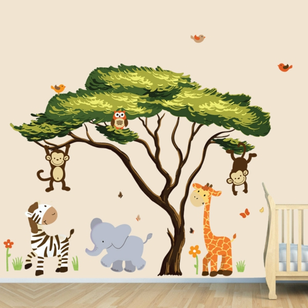 children's room colored wall stickers jungle animals