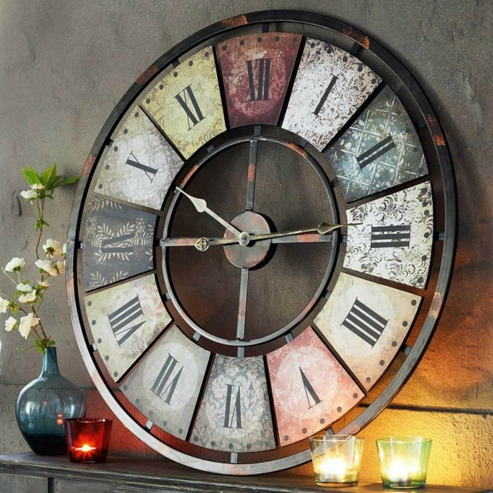wall clock vintage shelf decorate candles flower vase