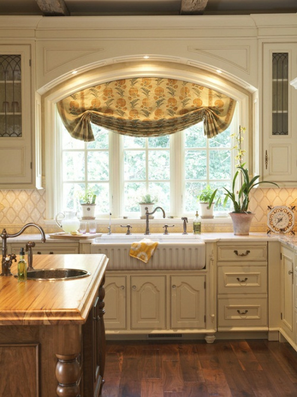 country style kitchen with modern curtains
