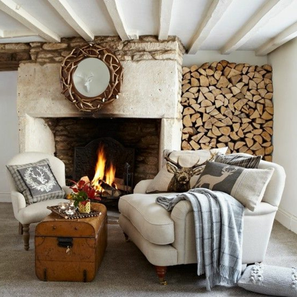 pillow country style living room fireplace coffee table