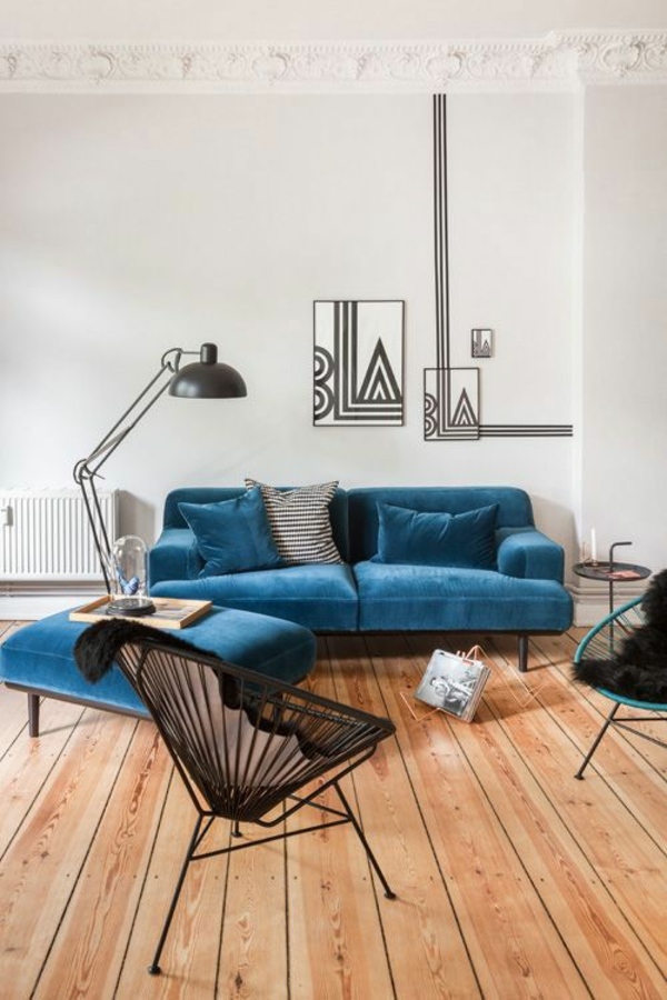 interior living room blue sofa