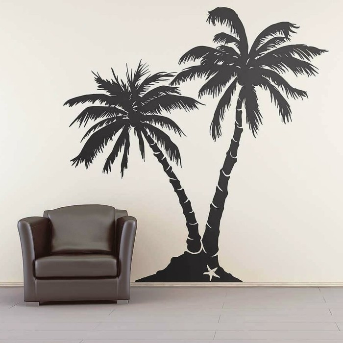 wall decals tree palm leather chair decorating living room