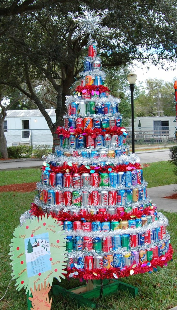 making christmas tree ornaments yourself making christmas tree out of drink cans