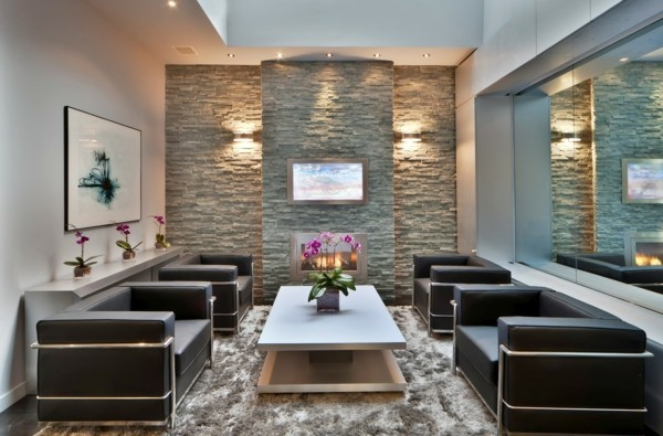 stone walls interior decoration ideas blue and brown nuances