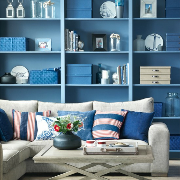 furnishing examples maritime decoration octopus blue living room entrance blue cupboard