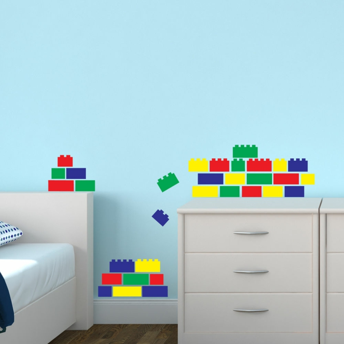 walltattoos boys room lego colored funny light blue wall paint