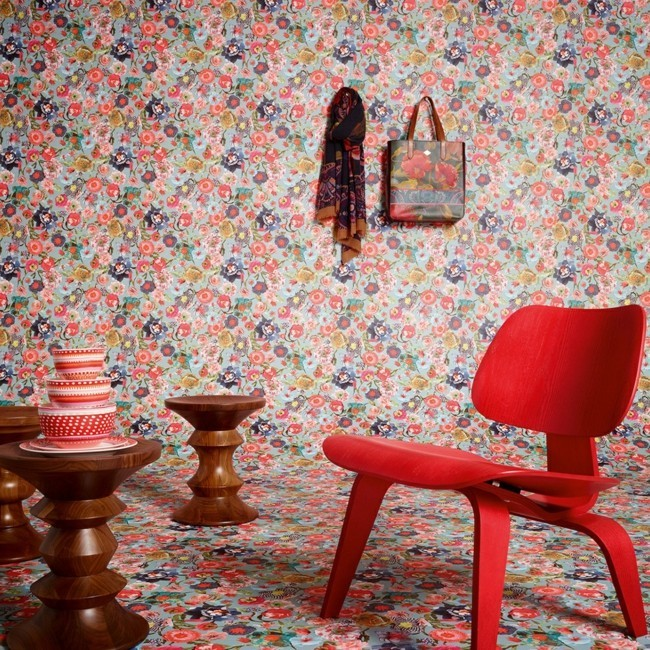 floral wallpaper vintage colors design elements