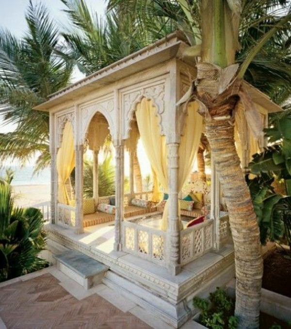 gazebo white wood marble oriental