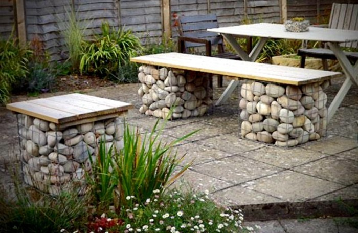 Tables with legs made of stones