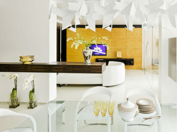 gorgeous modern living room designs chandelier yellow wall flowers glass table chair