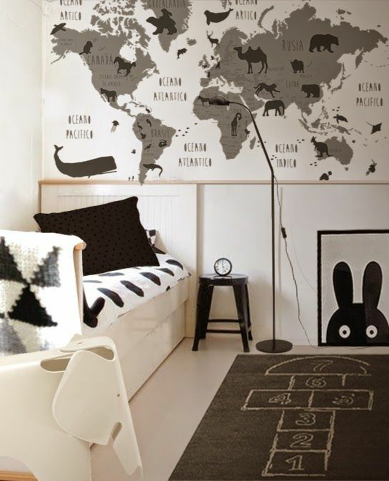 Pattern wallpaper world map wallpaper for kids room design