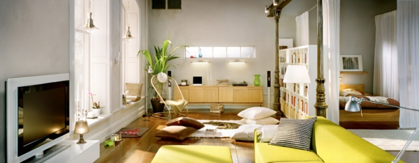 comfortably furnished small living spaces