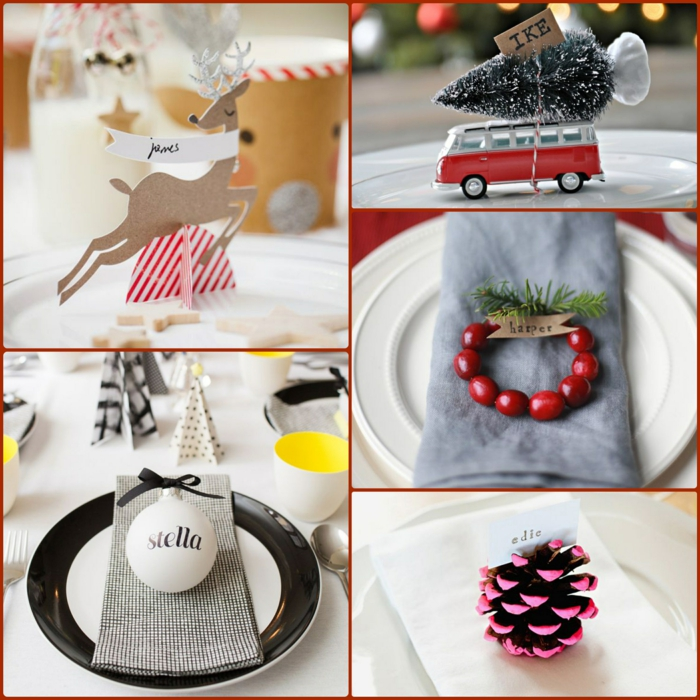Christmas table cards make creative table decoration ideas