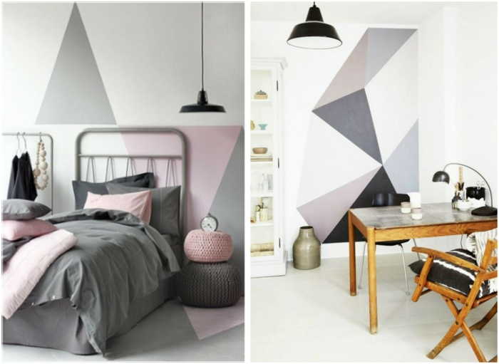 wall design ideas geometric pattern make yourself diy wall decor pastel colors