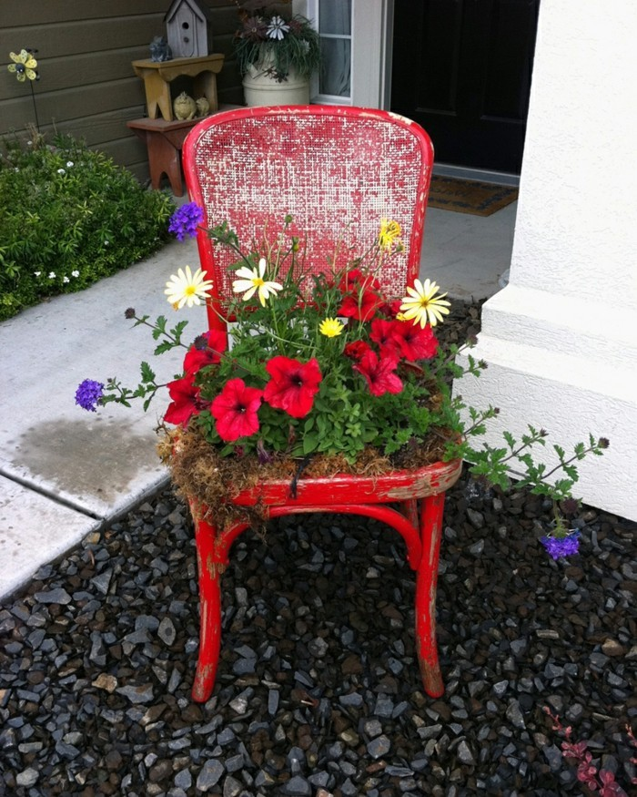 deco garden age chair red flowers