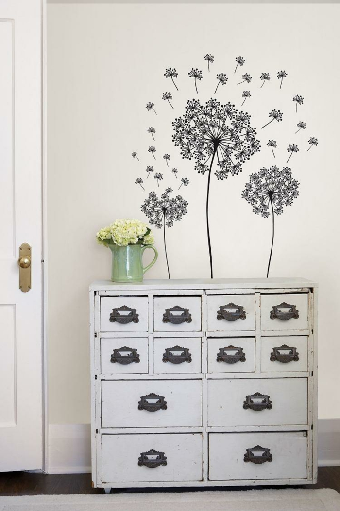 wall decals ideas floral floral vase dresser