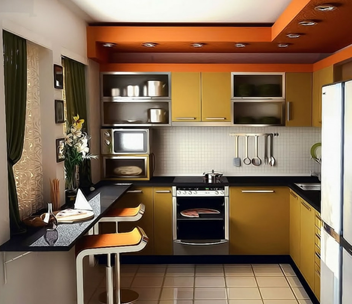 small kitchen set up yellow kitchen cabinets floor tiles curtains