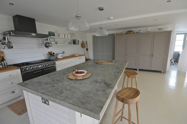 countertop concrete look workspace kitchen