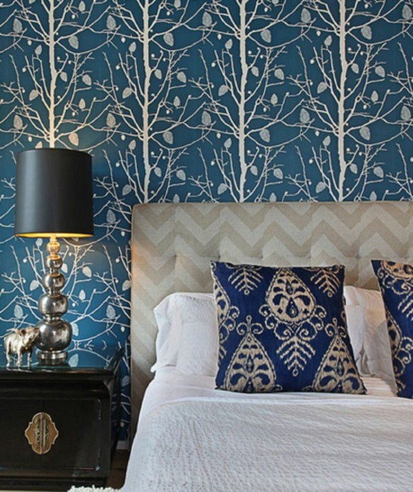 trees pattern blue white wallpaper bedroom