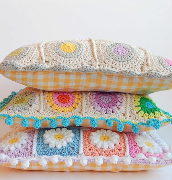 pillow country style crocheted pillowcase floral pattern