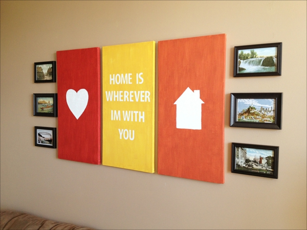 DIY modern canvas prints by yourself red orange