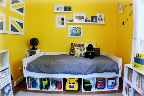 youth room for boys fashion yellow wall paint bed toys