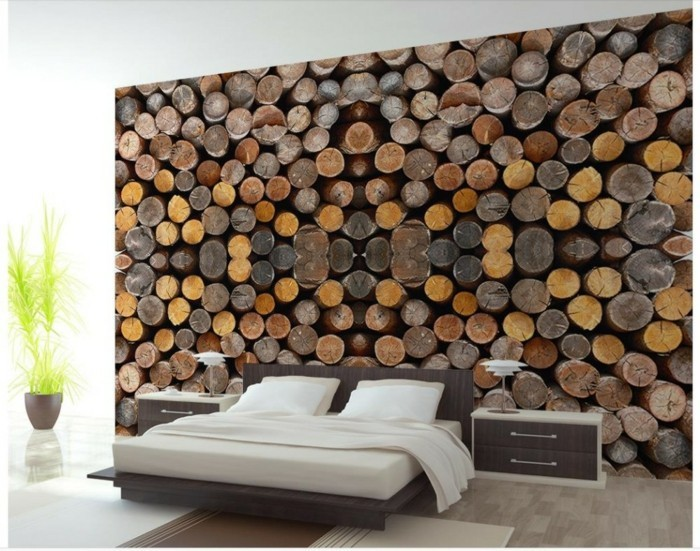 sleep room 3d wallpaper wood design