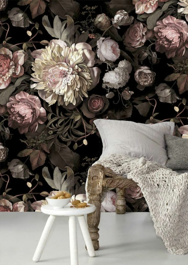wallpaper pattern floral elements side table