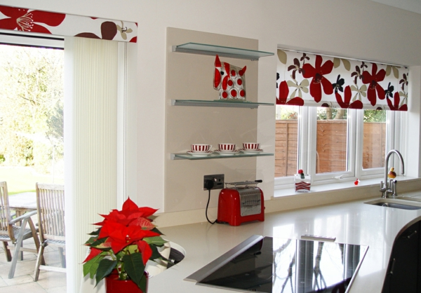 kitchen window with roller blinds