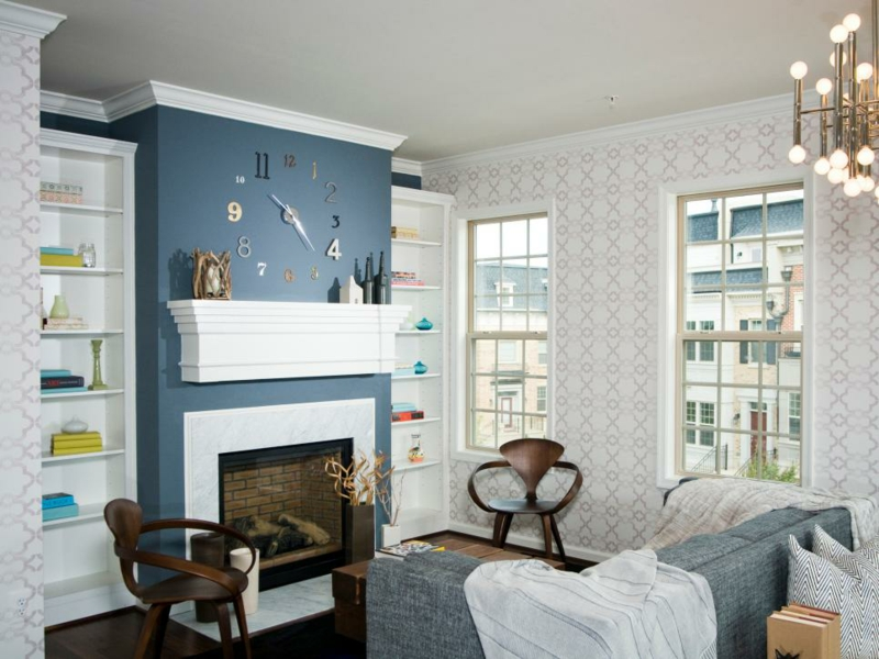 Room Designs Living Room Coloring Fireplace Deco Wall Color Blue