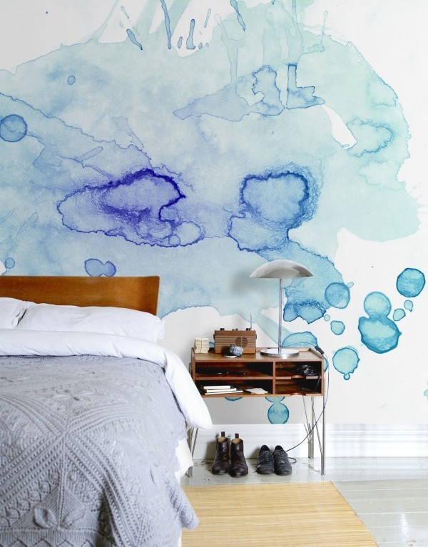 Wall color watercolor stains