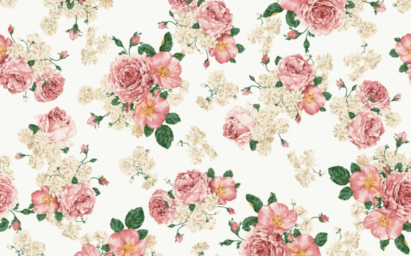 wallpaper pattern flowers freshly colored