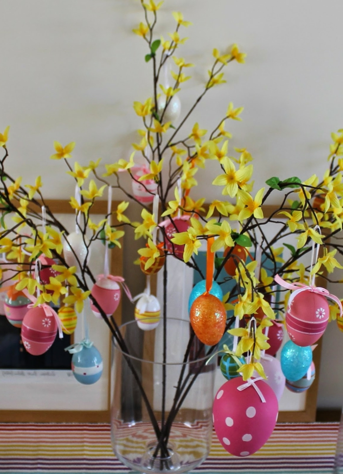 easter decoration colored easter eggs hanging flowers