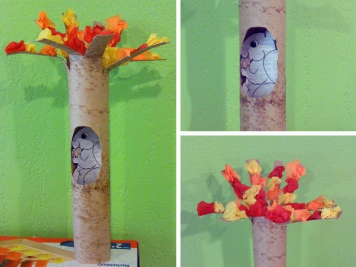 making autumn with children make autumn decoration yourself tinkering with paper rolls eichhoernchen