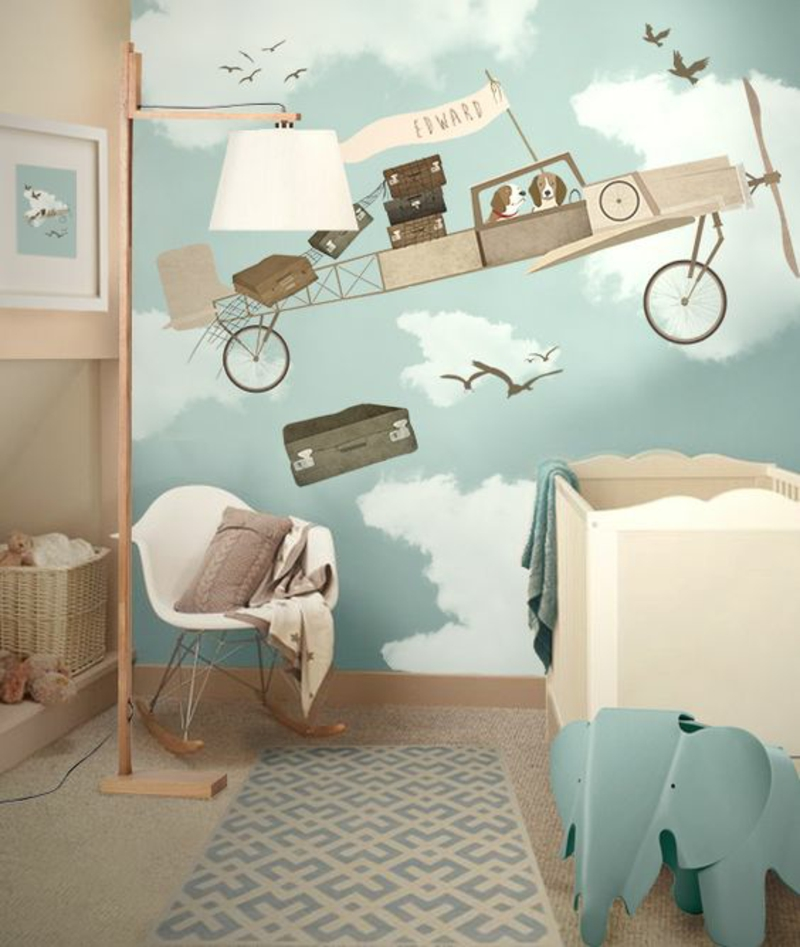 Wallpaper nursery plane clouds pattern nursery furniture
